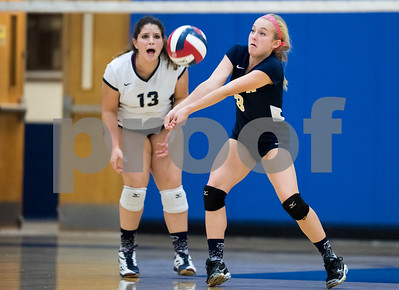 10/12/17  Wesley Bunnell | Staff  Bristol Central vs Newington girls volleyball at Newington High School on Thursday evening. Newington senior captain Blayne Wanner-Hyde (3) and sophomore Carelys Benitez (13).