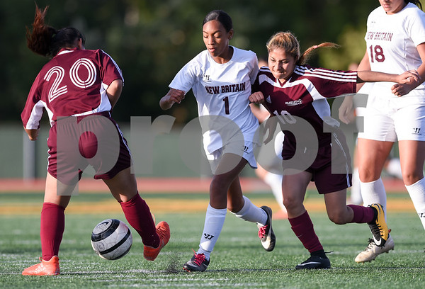 10/13/17 Wesley Bunnell | Staff Bulkeley vs New Britain girls soccer at Veterans' Stadium on Friday afternoon. Nayelie Acevedo (1).