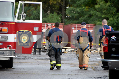 "10/14/2017 Mike Orazzi | Staff The scene of a large blaze at the old O'Connell elementary school, police said. The fire was called in at 1:08 a.m. by several people, police said. Firefighters arrived to find a ""large scale"" working fire that heavily damaged the building and some building materials, police said. No injuries were reported.  The cause of the fire is under ""active investigation,"" according to police who declined to give out further details.  Council members voted to sell the old elementary school at 120 Park St. for redevelopment in 2015. The school has not been used since 2012. The plan was to turn the old school into 49 units of housing which was supposed to be finished in spring of 2017."