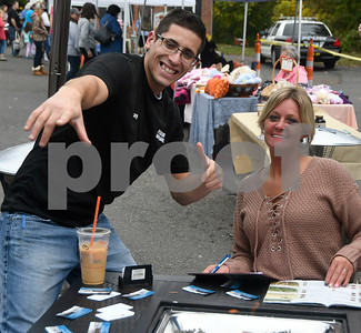10/14/2017 Mike Orazzi | Staff Ray Rodriguez and Stacy Ferrari of Ferrari's Appliance during the A.S. Labieniec farm store grand re-opening on Saturday in Berlin.