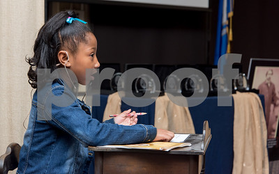 10/16/17  Wesley Bunnell | Staff  The 2017 Ebenezer D. Bassett Humanitarian Awards were held at CCSU on Monday evening honoring the CCSU alumnus, civil rights leader, diplomat, scholar and educator. Taelor Arnold, a 4th grade student at Goodwin Elementary School in East Hartford, performs a speech titled Dear Mr. Bassett: A Tribute.