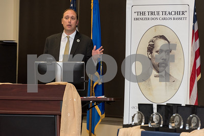 10/16/17  Wesley Bunnell | Staff  The 2017 Ebenezer D. Bassett Humanitarian Awards were held at CCSU on Monday evening honoring the CCSU alumnus, civil rights leader, diplomat, scholar and educator. Consul General Christopher Teal , a 2017 award winner, speaks to the audience.