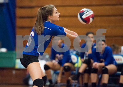 10/16/17  Wesley Bunnell | Staff  St. Paul Volleyball vs Oxford at St. Paul High School on Monday evening. Grace Carabetta (6).