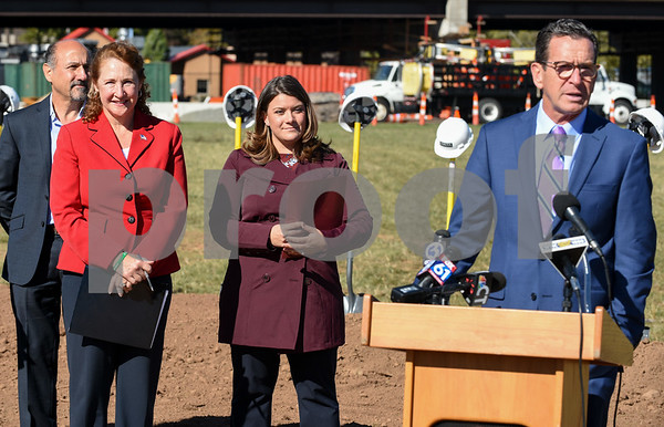 10/17/17 Wesley Bunnell | Staff An official groundbreaking ceremony was held on Tuesday morning for the Columbus Commons transit orientated development site on Columbus Ave which is the site of the former police station. Roberto Arista, L, from Dakota Partners, Congresswoman Elizabeth Esty, Mayor Erin Stewart and Governor Dannel Malloy.