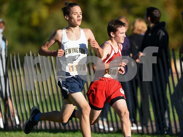10/17/17 Wesley Bunnell | Staff CCC Conference XC Championships at Wickham Park in East Hartford. Newington Samuel Geisler (1176) and Berlin Michael Parzych (640).