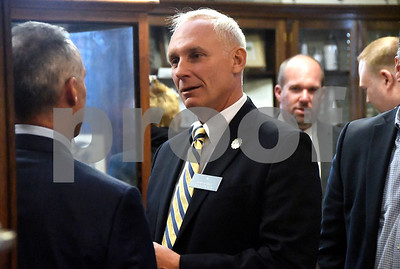 "10/17/2017 Mike Orazzi | Staff John Barry during a ""Meet the Candidates"" event at the Southington Historical Society Tuesday night."