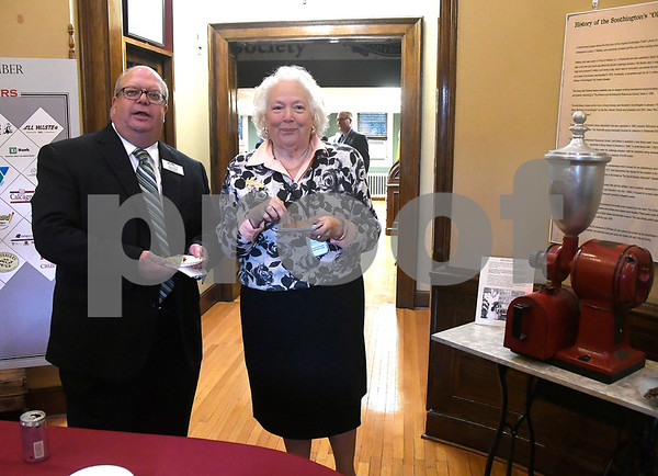 10/17/2017 Mike Orazzi | Staff Rob Flood talks with Victoria Triano during a &quote;Meet the Candidates&quote; event at the Southington Historical Society Tuesday night.