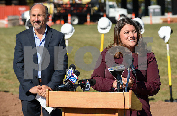 10/17/17 Wesley Bunnell | Staff An official groundbreaking ceremony was held on Tuesday morning for the Columbus Commons transit orientated development site on Columbus Ave which is the site of the former police station. Mayor Erin Stewart speaks as developer Roberto Arista from Dakota Partners stands nearby.
