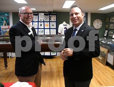 "10/17/2017 Mike Orazzi | Staff David Gold talks with Rob Sampson during a ""Meet the Candidates"" event at the Southington Historical Society Tuesday night."