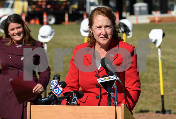 10/17/17 Wesley Bunnell | Staff An official groundbreaking ceremony was held on Tuesday morning for the Columbus Commons transit orientated development site on Columbus Ave which is the site of the former police station. Congresswoman Elizabeth Esty speaks as Mayor Erin Stewart looks on.