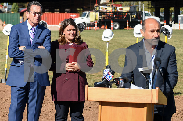 10/17/17 Wesley Bunnell | Staff An official groundbreaking ceremony was held on Tuesday morning for the Columbus Commons transit orientated development site on Columbus Ave which is the site of the former police station. Governor Dannel Malloy, Mayor Erin Stewart and developer Roberto Arista from Dakota Partners.