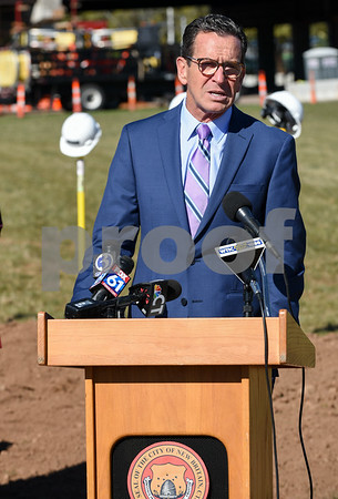10/17/17 Wesley Bunnell | Staff An official groundbreaking ceremony was held on Tuesday morning for the Columbus Commons transit orientated development site on Columbus Ave which is the site of the former police station. Governor Dannel Malloy.