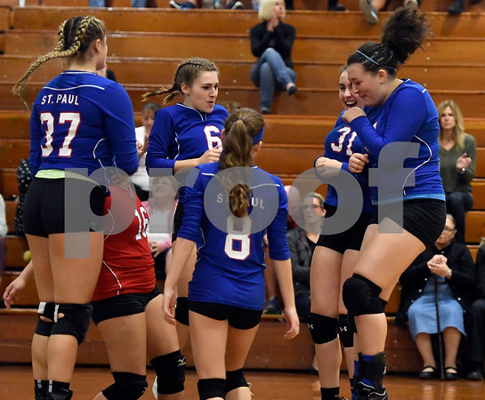 10/18/2017 Mike Orazzi | Staff St. Paul during volleyball with Goodwin Tech in Bristol Wednesday.