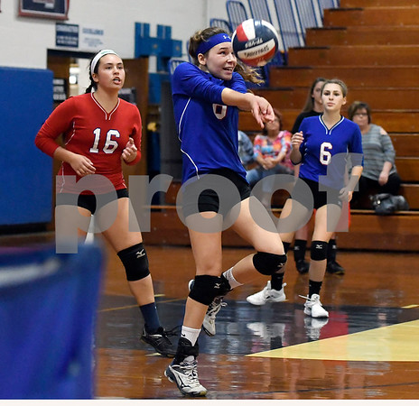 10/18/2017 Mike Orazzi | Staff St. Paul's Alexis Carabetta (8) during volleyball with Goodwin Tech in Bristol Wednesday.