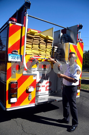 10/18/2017 Mike Orazzi | Staff Bristol Fire Chief Jay Kolakoski explains some of the features of the new Engine 2 at Engine 2 Wednesday afternoon in Bristol.
