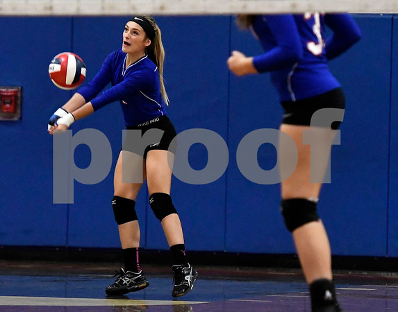 10/18/2017 Mike Orazzi | Staff St. Paul's Emma McPhee (1) during volleyball with Goodwin Tech in Bristol Wednesday.