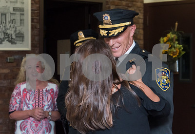 10/18/17  Wesley Bunnell | Staff  Berlin held an official ceremony on Wednesday night for the incoming Chief of Police John Klett and Deputy Chief Chris Ciuci. Deputy Chief Ciuci has his badge pinned to him by his wife Tammy Ciuci.