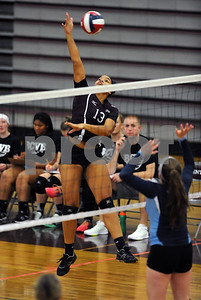 10/18/2017 Mike Orazzi | Staff Bristol Central's Xia'ian Carrasco (13) during Wednesday's volleyball match with Middletown at BC.