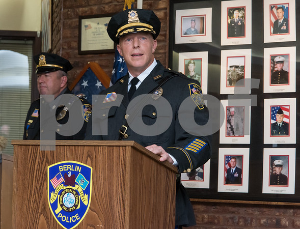 10/18/17 Wesley Bunnell | Staff Berlin held an official ceremony on Wednesday night for the incoming Chief of Police John Klett and Deputy Chief Chris Ciuci. Deputy Chief Ciuci address the crowd.