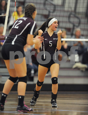 10/18/2017 Mike Orazzi | Staff Bristol Central's Brianna Saverino (5) during Wednesday's volleyball match at BC.
