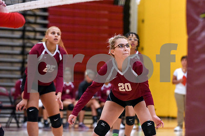10/18/17  Wesley Bunnell | Staff  Berlin girls volleyball vs New Britain on Wednesday evening at New Britain High School. New Britain's Nataly Hernandez (25) and Melanie Velez (20).