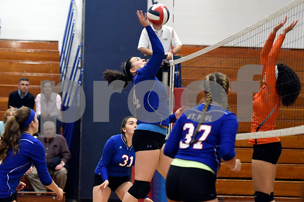 10/18/2017 Mike Orazzi | Staff St. Paul's Julianna Iacovelli (14) during volleyball with Goodwin Tech in Bristol Wednesday.