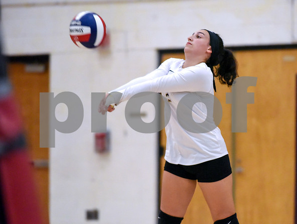10/18/17 Wesley Bunnell | Staff Berlin girls volleyball vs New Britain on Wednesday evening at New Britain High School. New Britain's Sara Manuele (2).