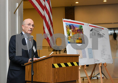 10/19/17  Wesley Bunnell | Staff  CMHA held their annual meeting at their new location on Main St. across from Central Park in downtown New Britain.  CMHA Chairman of the Board Nicholas Pettinico is shown at the podium with the final plans for the new building shown.