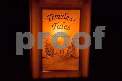 10/19/17  Wesley Bunnell | Staff  Visitors to Timeless Tales at Fairview Cemetery took a lamplight led tour featuring tales of the Stanley family. One of the many luminary lights used to light the path through the cemetery.