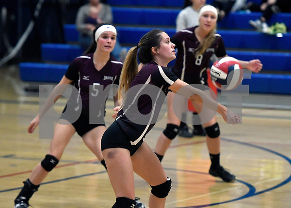 10/19/2017 Mike Orazzi | Staff Bristol Central's Taylor Soucy (3) during Thursday's volleyball match in Plainville.
