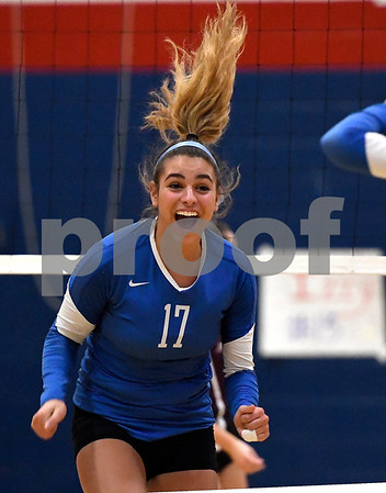 10/19/2017 Mike Orazzi | Staff Plainville's Katharine Tanguay (17) during Thursday's volleyball match in Plainville.