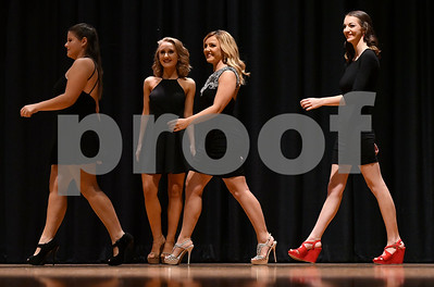 10/21/2017 Mike Orazzi | Staff Miss Bristol/Forestville 2018 Contestant Alexis Volpe, Micayla Barrows, Jillian Duffy and Amber Ouellette during the Miss Bristol/Forestville Pageant held at the Chippens Hill Middle School Saturday night.