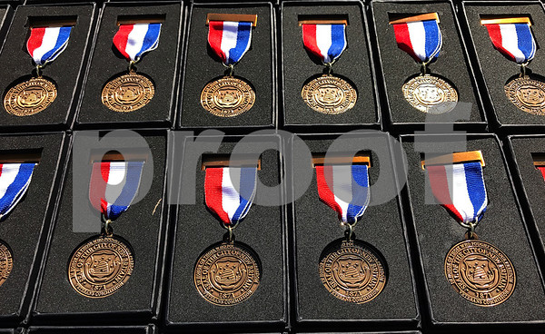 10/21/2017 Mike Orazzi | Staff U.S. Military veterans' medals during a medal ceremony Saturday afternoon for about 150 veterans, who either previously lived in the city, currently live in the city, enlisted in the city or belongs to a veteran organization in the city of New Britain.