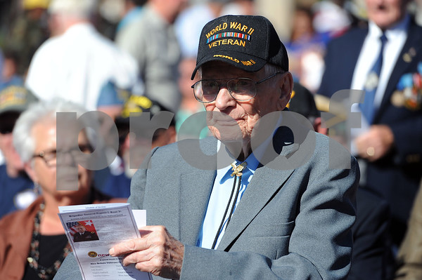 10/21/2017 Mike Orazzi | Staff WWII veteran Charles &quote;Charlie&quote; Slate during a medal ceremony Saturday afternoon for about 150 veterans, who either previously lived in the city, currently live in the city, enlisted in the city or belongs to a veteran organization in the city of New Britain.