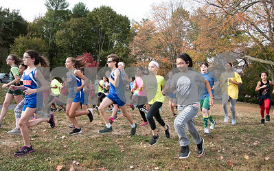 10/23/17  Wesley Bunnell | Staff  Middle school students from New Britain and Enfield competed in a cross country event on Monday afternoon at Stanley Quarter Park. The girls race starts on a grassy area near the tennis courts.
