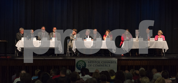 10/23/17 Wesley Bunnell | Staff The Bristol Chamber of Commerce held a Candidates' Forum on Monday evening at St. Paul Catholic High School. Candidates for districts 1-3 are sit on the stage in the auditorium.