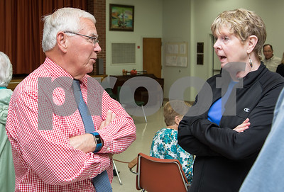 10/24/17  Wesley Bunnell | Staff  The Berlin Senior Center hosted a meet and greet for the candidates in this year's town elections on Tuesday afternoon with all candidates allowed 3 minutes to introduce themselves. Coffee and light refreshments were served after as the candidates had the chance to speak one on one with those in attendance.  Former superintendent of schools and Democratic candidate for mayor Rich Paskiewicz speaks with retired teacher Dorie Wojcik who spoke very highly of his work at superintendent.