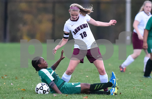 10/25/17 Wesley Bunnell | Staff Innovation girls soccer defeated Bassick on Wednesday afternoon on senior day. Victoria Piechota (18).