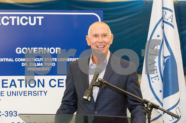 10/25/17 Wesley Bunnell | Staff CCSU held a groundbreaking ceremony for the new recreation center which will replace the Kaiser Annex bubble. CSCU President Mark E. Ojakian.