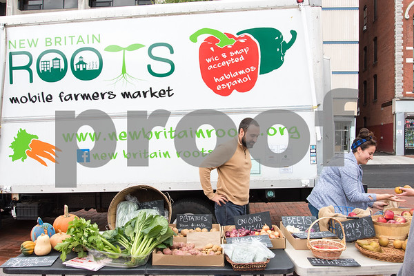 10/25/17 Wesley Bunnell | Staff The final farmers market of the season was held on Wednesday in Central Park. New Britain ROOTS plans on continuing until just before Thanksgiving. ROOTS Executive Director Joey LIstro.