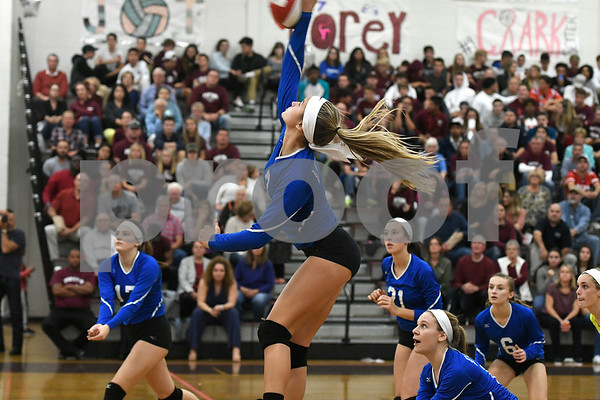 10/26/2017 Mike Orazzi | Staff Bristol Eastern's Zoe Lowe (7) during Thursday night's volleyball match at BC.