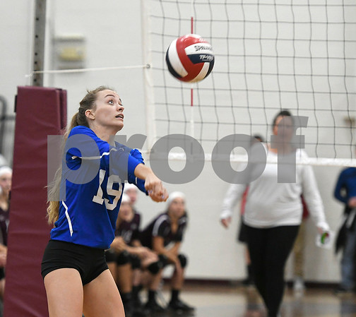 10/26/2017 Mike Orazzi | Staff Bristol Eastern's Amber Blais (19) during Thursday night's volleyball match at BC.