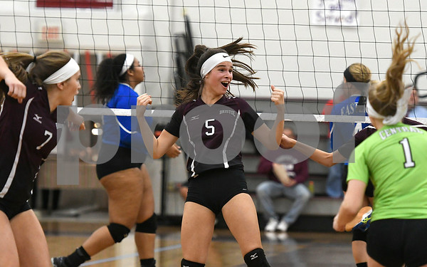 10/26/2017 Mike Orazzi | Staff Bristol Central's Brianna Saverino (5) during Thursday night's volleyball match at BC.