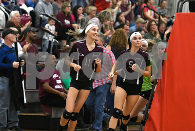 10/26/2017 Mike Orazzi | Staff Bristol Central's Emily Ericson (11) and Brianna Saverino (5) during Thursday night's volleyball match at BC.