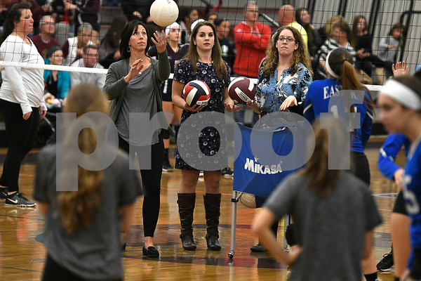 10/26/2017 Mike Orazzi | Staff Bristol Eastern's Stacy Rivoira (left) during Thursday night's volleyball match at BC.
