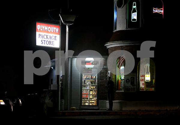 10/27/2017 MIke Orazzi | Staff The Plymouth Package Store on Route 72 in the Pequabuck section Thursday night.