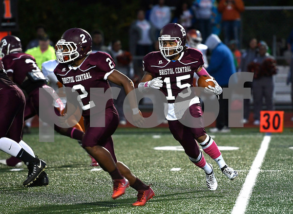 10/27/2017 MIke Orazzi | Staff Bristol Central's Justus Fitzpatrick (15) follows a block by Darrell Payton (2) against CapitalPrep/Achievement at BC Friday night.