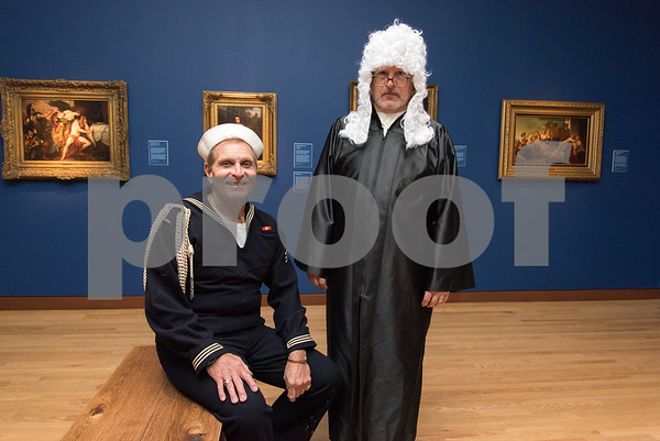 10/27/17 Wesley Bunnell | Staff The New Britain Museum of American Art held their Museum After Dark 11th Annual Halloween Bash on Friday evening. Mark Giulietti and Stephen Hard.