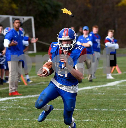 10/28/2017 Mike Orazzi | Staff St. Paul's Damien Rabis (21) during Saturday's football game with Woodland.