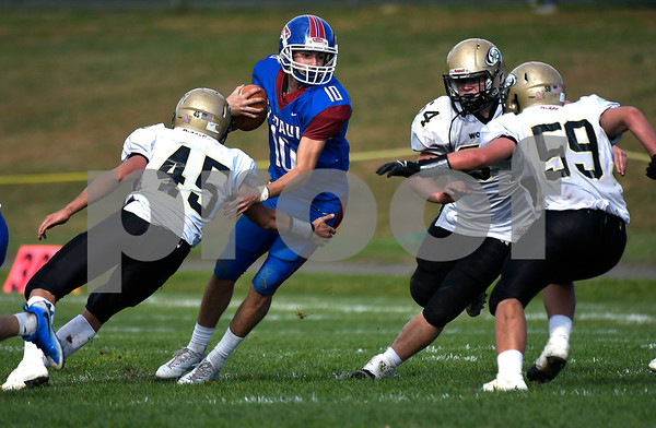 10/28/2017 Mike Orazzi | Staff St. Paul's Kevin Ashworth (10) during Saturday's football game with Woodland.